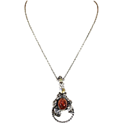 Antique Amber and Mother of Pearl Arts & Crafts Necklace in Silver