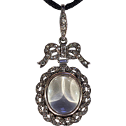 Antique Edwardian Silver Paste Frame Locket Pendant