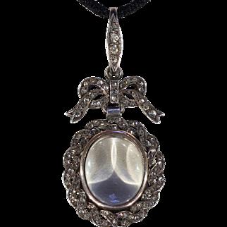 Antique Edwardian Silver Paste Frame Locket Pendant