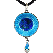Antique James Fenton Enamel and Silver Pendant, 1908