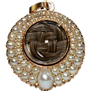 Antique Victorian Natural Pearl Hair Crystal Pendant Drop