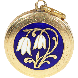 Antique Victorian Mourning Hair Locket-backed Pendant with Enamel Snowdrops