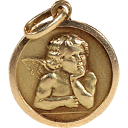 Vintage French Angel Pendant in 18k Gold, Cherub
