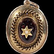 Antique Victorian Garnet Pearl Gold Pendant