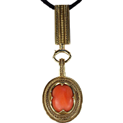 Antique Victorian Coral and Gold Pendant in Box