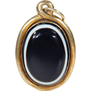 Antique Victorian Banded Agate Pendant Memorial