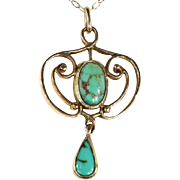Lovely Art Nouveau Turquoise and Gold Pendant, 9k Gold c. 1900