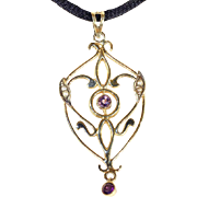 Antique Edwardian Amethyst and Pearl Pendant in 15k Gold