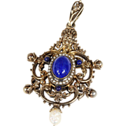 Antique Austro-Hungarian Gilded Silver Pendant set with Lapis and Pearls in Sterling Silver