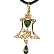 Antique Art Nouveau Pearl and Green Tourmaline Lavalier Pendant, 15k Gold, Scottish