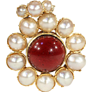 Antique Victorian Garnet and Pearl Cluster Pendant in 18k Gold, Locket Backed