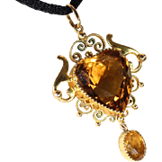 Antique Edwardian Gold and Citrine Heart Shaped Pendant