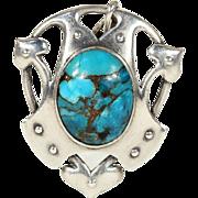 Antique Murrle, Bennett & Co. Silver Pendant with Cabochon Turquoise Gem, Arts & Crafts