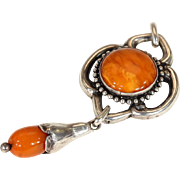 Antique Arts & Crafts Silver and Amber Pendant by Grann & Laglye, Circa 1915