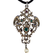 Antique Austro-Hungarian Pendant Silver Double Dragon