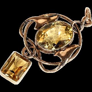 Antique Art Nouveau Pendant Set with Citrine, English in 9k Gold,