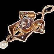 Antique Art Nouveau Pendant Amethyst Peridot Pearl