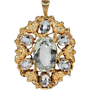 Early Victorian Aquamarine Gold Pendant
