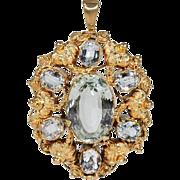 Early Victorian Aquamarine Gold Pendant