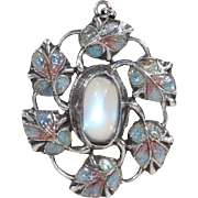 Arts and Crafts Jessie King Pendant Moonstone Enamel Silver