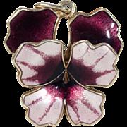 Vintage David Andersen Enamel Pansy Pendant Silver