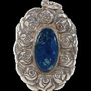 Antique Arts and Crafts Silver Swiss Lapis Pendant Rose Motif