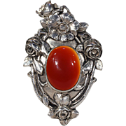 Large Antique Arts & Crafts Carnelian Silver Pendant Floral Austrian