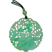Antique Chinese Jade Carved Pendant Silk Pearl