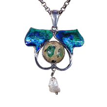 W H Haseler Arts & Crafts Silver Enamel Pendant Necklace with Emerald