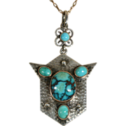 Antique Silver and 9k Gold Arts And Crafts Turquoise Pendant c.1900 (Chain Not Included)