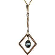 Antique Edwardian Pearl Aquamarine Pendant Necklace