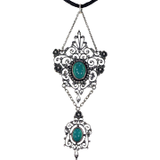 Antique Arts & Crafts Silver Chrysoprase Drop Pendant Circa 1910