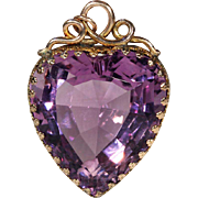 Antique Amethyst Heart Pendant, Victorian