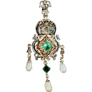 Georgian Emerald and Diamond Pendant with Pearl Drops in Silver and 18k Gold