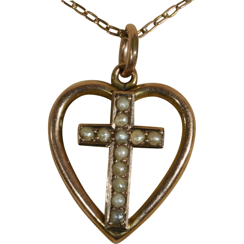 *RESERVED* Antique 9k Victorian Seed Pear Cross and Heart Pendant c.1890 (Chain Not Included)