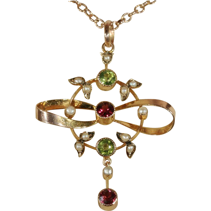Antique Edwardian Peridot, Garnet and Pearl Pendant Lavalier, 9k Gold c. 1910