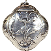 Mistletoe Repousse Silver French Pendant, Powder Box with Beveled Mirror