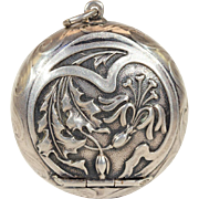 Repousse Oak Leaf and Flower Blossom Silver Box Pendant with Scrolling Waves