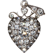 Antique Victorian Paste Silver Heart Pendant