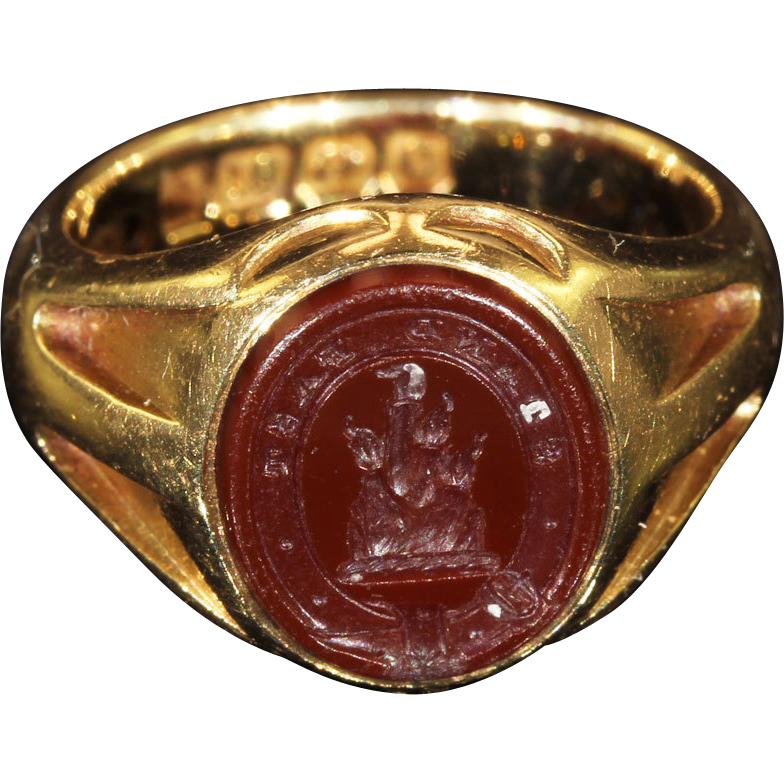 Antique Gold Carnelian Intaglio Ring