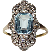 Glorious Antique Edwardian Paste Ring, 9k Gold Silver Set