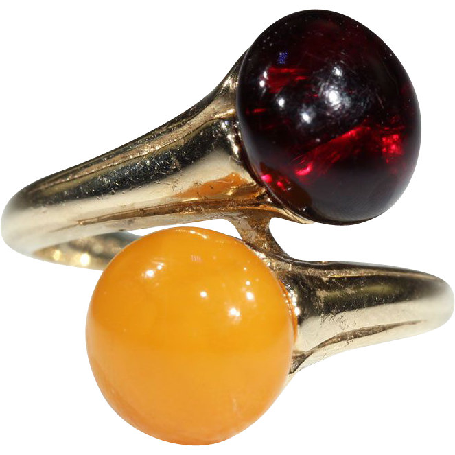 Stunning Vintage Gold & Red Amber Bypass Ring in 14k Gold