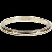 Vintage 14k White Gold Men's Wedding Band Ring, Size 10 US