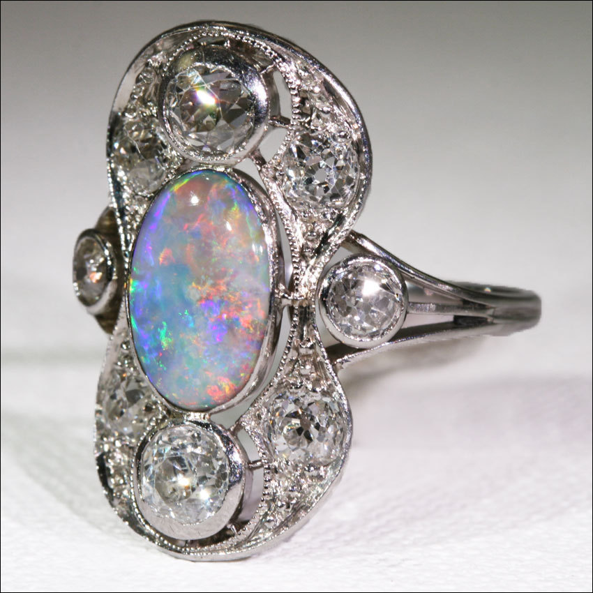 roll over large image to magnify click large image to zoom - Black Opal Wedding Rings