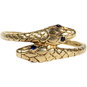 Antique 18k Gold Double Headed Snake Ring with Sapphire Eyes, Engraved