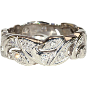 Vintage Diamond Swirls Eternity Band Ring in 14k White Gold