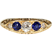 Antique Edwardian 5 Stone Sapphire and Diamond Ring in 18k Gold, Engagement