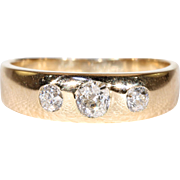 Victorian 3 Diamond Gypsy Ring Stacking Band