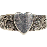 Antique Silver Heart Ring, Victorian Hallmarked 1900