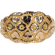 Antique Love Knot Ring with Hearts and Flowers in 9k Gold